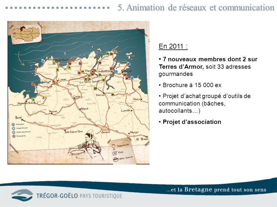5. Animation de réseaux et communication En 2011 : 7 nouveaux membres dont 2 sur Terres dArmor, soit 33 adresses gourmandes Brochure à 15 000 ex Proje