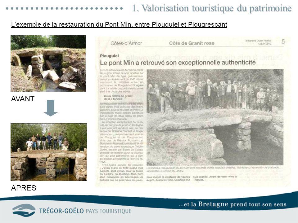1. Valorisation touristique du patrimoine AVANT APRES Lexemple de la restauration du Pont Min, entre Plouguiel et Plougrescant