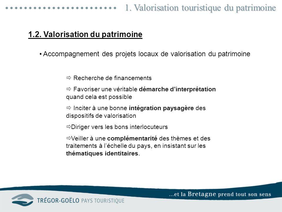 1. Valorisation touristique du patrimoine En 2010