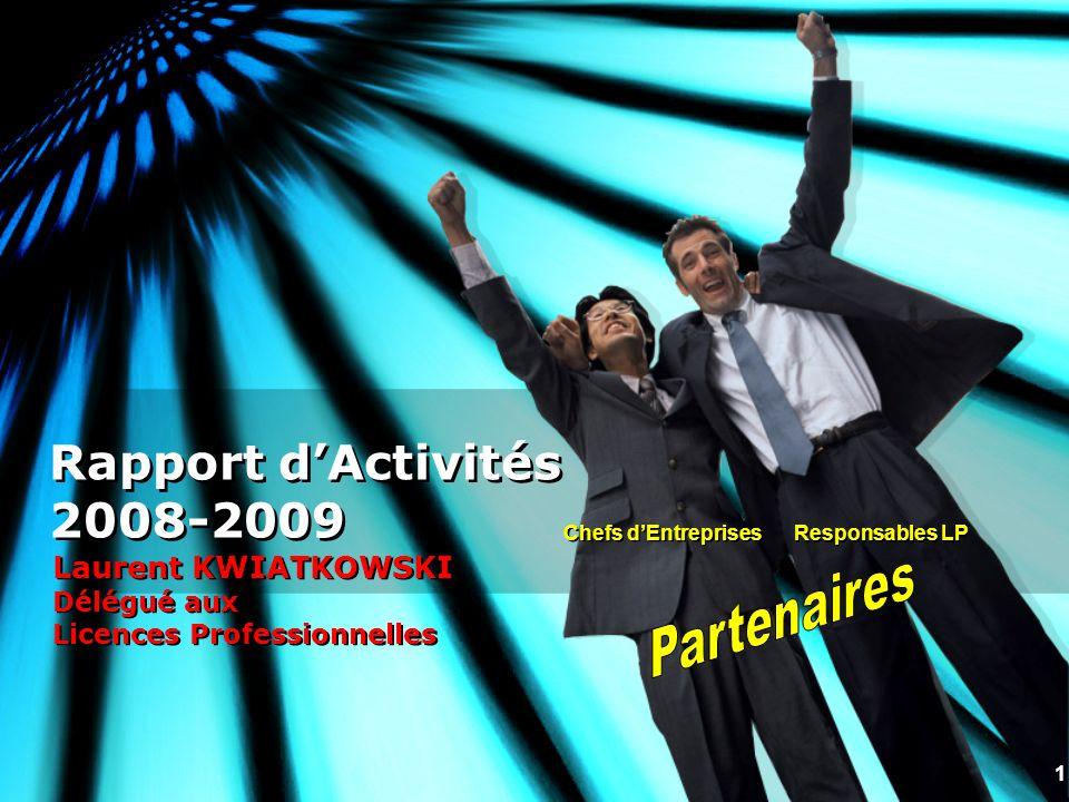 1 Rapport dActivités 2008-2009 Laurent KWIATKOWSKI Délégué aux Licences Professionnelles Chefs dEntreprises Responsables LP