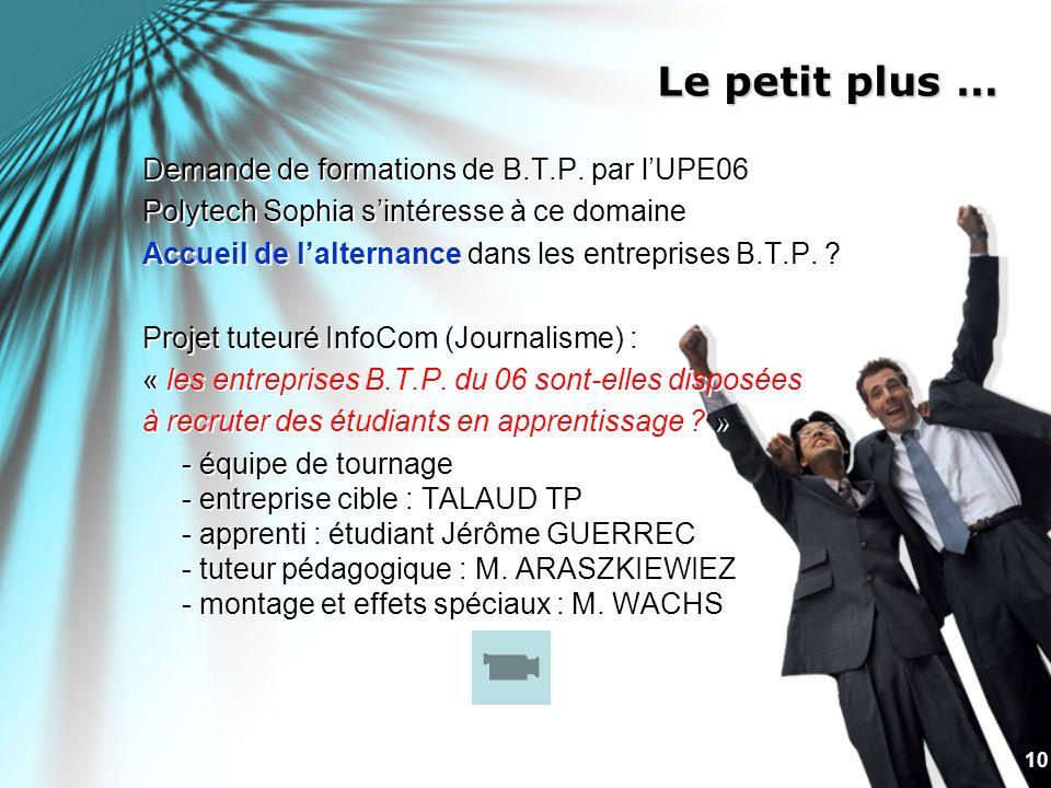 10 Le petit plus … Demande de formations de B.T.P. par lUPE06 Polytech Sophia sintéresse à ce domaine Accueil de lalternance dans les entreprises B.T.