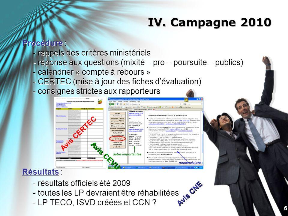 6 IV. Campagne 2010 Procédure : - rappels des critères ministériels - réponse aux questions (mixité – pro – poursuite – publics) - calendrier « compte