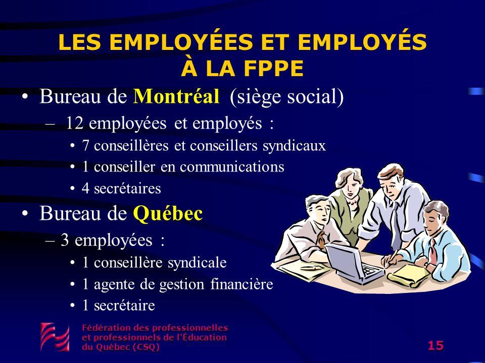Fédération des professionnelles et professionnels de l'Éducation du Québec (CSQ) 15 LES EMPLOYÉES ET EMPLOYÉS À LA FPPE Bureau de Montréal (siège soci
