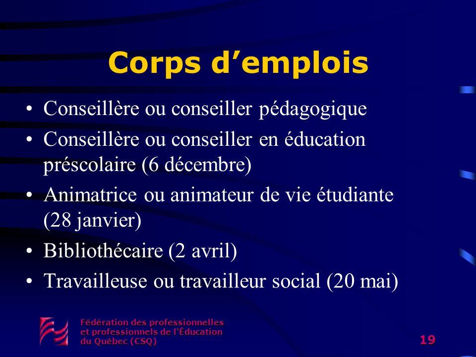 Corps demplois Conseillère ou conseiller pédagogique Conseillère ou conseiller en éducation préscolaire (6 décembre) Animatrice ou animateur de vie ét