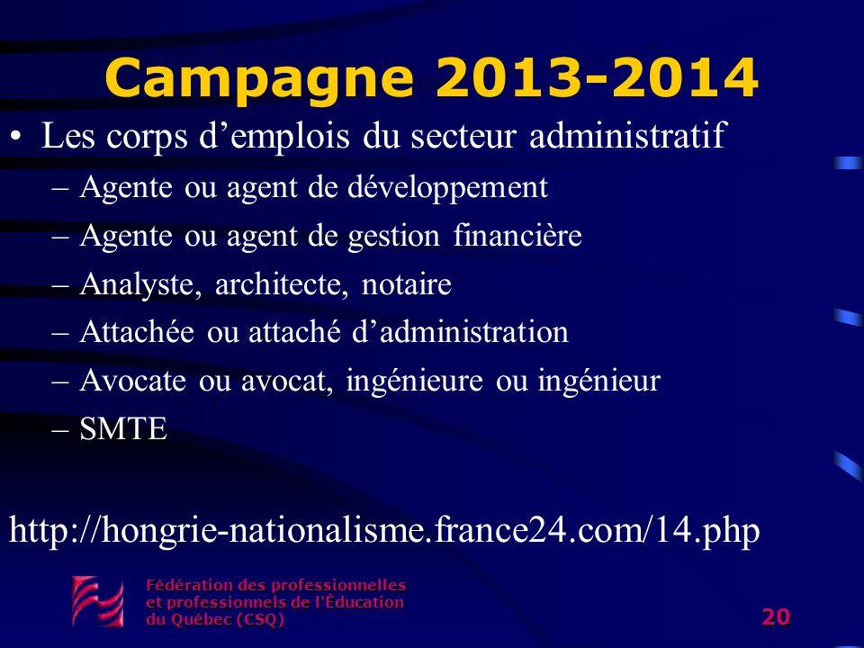 Campagne 2013-2014 Les corps demplois du secteur administratif –Agente ou agent de développement –Agente ou agent de gestion financière –Analyste, arc