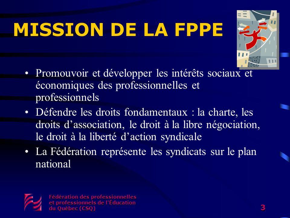 Fédération des professionnelles et professionnels de l'Éducation du Québec (CSQ) 3 MISSION DE LA FPPE Promouvoir et développer les intérêts sociaux et