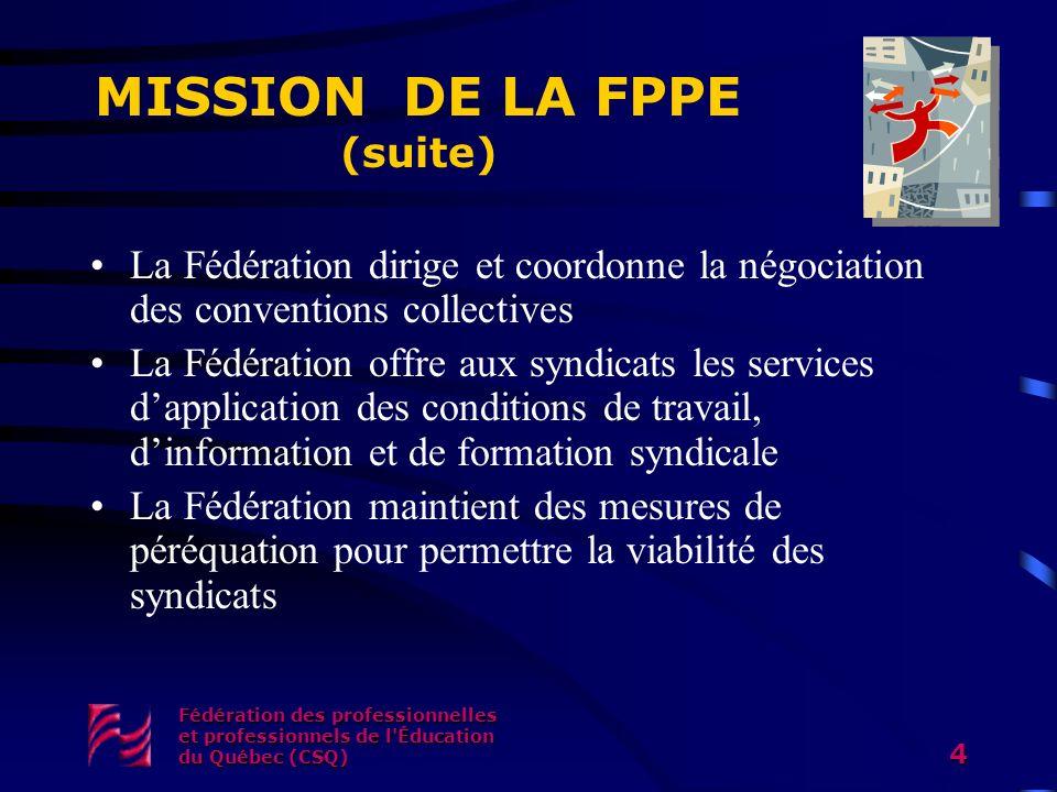 Fédération des professionnelles et professionnels de l'Éducation du Québec (CSQ) 4 MISSION DE LA FPPE (suite) La Fédération dirige et coordonne la nég