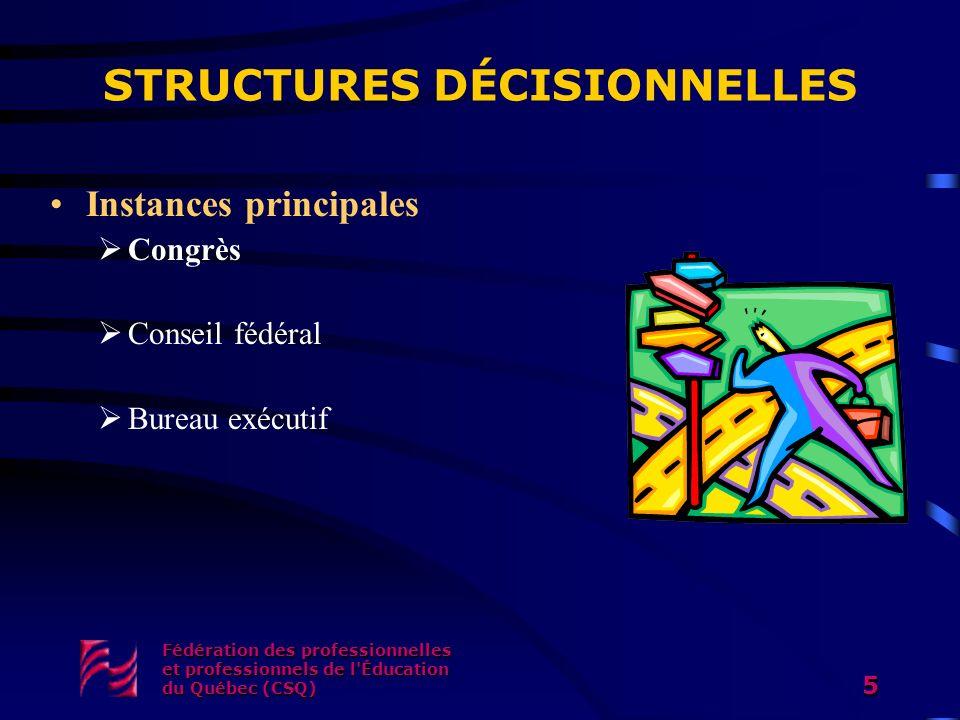 Fédération des professionnelles et professionnels de l'Éducation du Québec (CSQ) 5 STRUCTURES DÉCISIONNELLES Instances principales Congrès Conseil féd