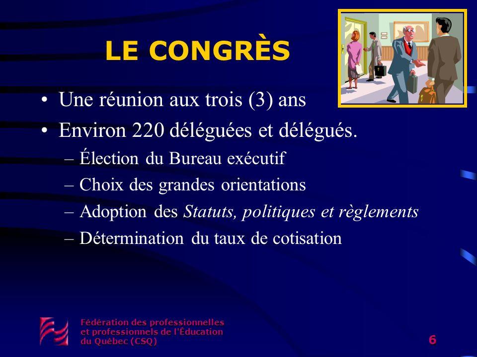 Fédération des professionnelles et professionnels de l'Éducation du Québec (CSQ) 6 LE CONGRÈS Une réunion aux trois (3) ans Environ 220 déléguées et d