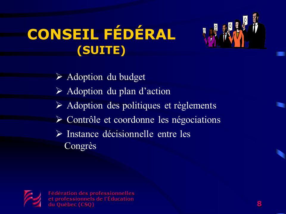 Fédération des professionnelles et professionnels de l'Éducation du Québec (CSQ) 8 CONSEIL FÉDÉRAL (SUITE) Adoption du budget Adoption du plan daction