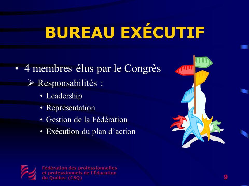 Fédération des professionnelles et professionnels de l'Éducation du Québec (CSQ) 9 BUREAU EXÉCUTIF 4 membres élus par le Congrès Responsabilités : Lea