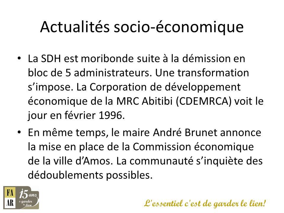 Actualités socio-économique La SDH est moribonde suite à la démission en bloc de 5 administrateurs. Une transformation simpose. La Corporation de déve