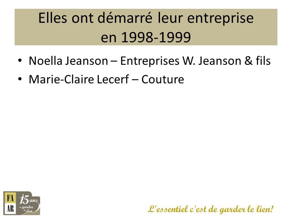 Elles ont démarré leur entreprise en 1998-1999 L'essentiel c'est de garder le lien! Noella Jeanson – Entreprises W. Jeanson & fils Marie-Claire Lecerf