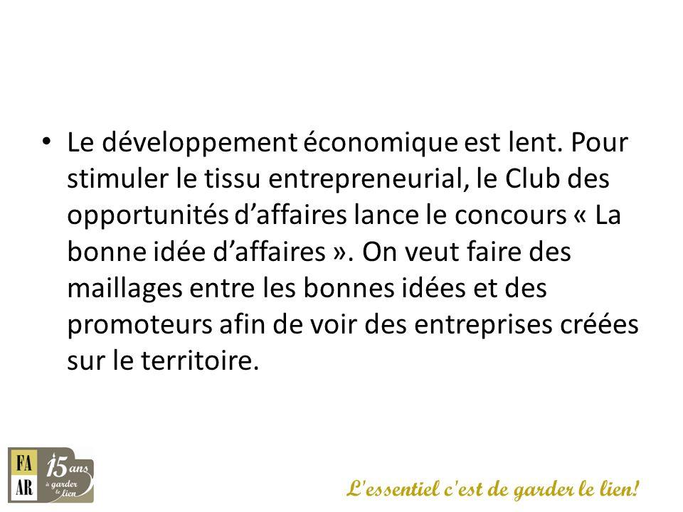 Le développement économique est lent. Pour stimuler le tissu entrepreneurial, le Club des opportunités daffaires lance le concours « La bonne idée daf