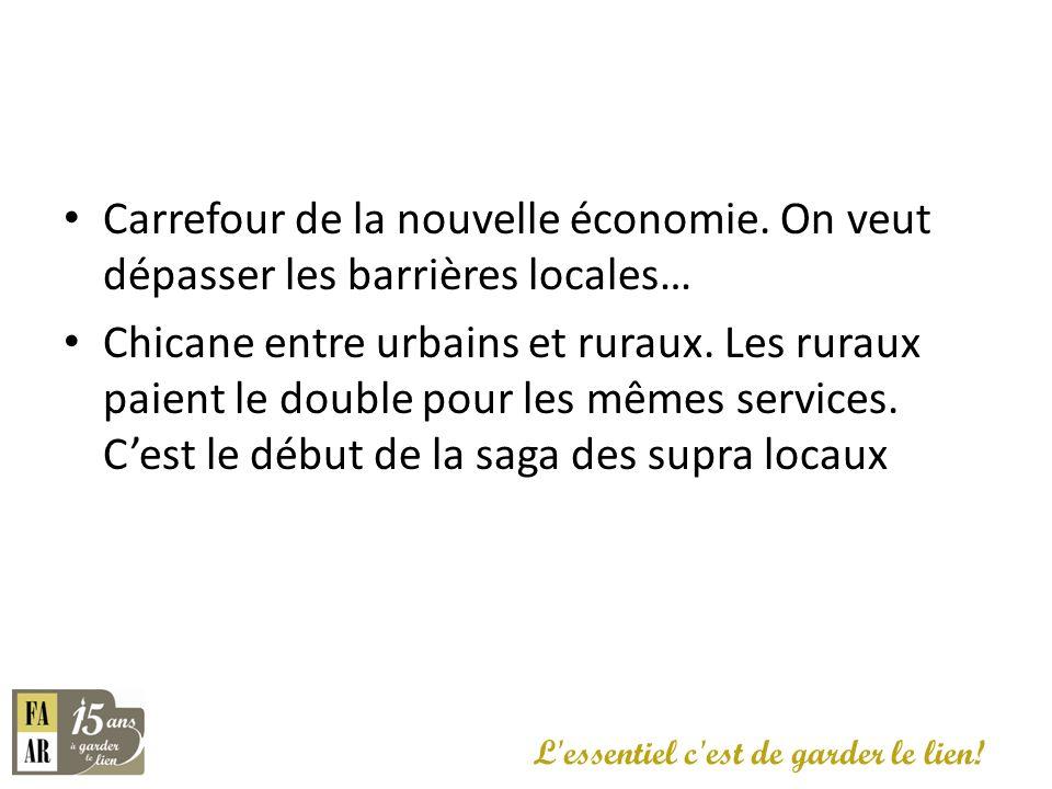 Carrefour de la nouvelle économie. On veut dépasser les barrières locales… Chicane entre urbains et ruraux. Les ruraux paient le double pour les mêmes