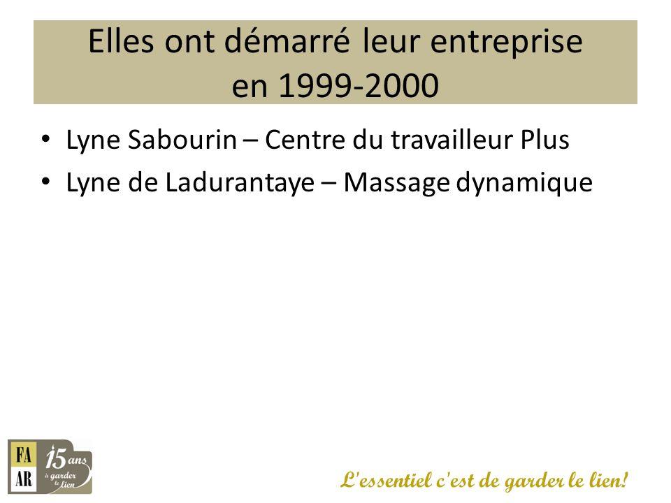 Elles ont démarré leur entreprise en 1999-2000 L'essentiel c'est de garder le lien! Lyne Sabourin – Centre du travailleur Plus Lyne de Ladurantaye – M