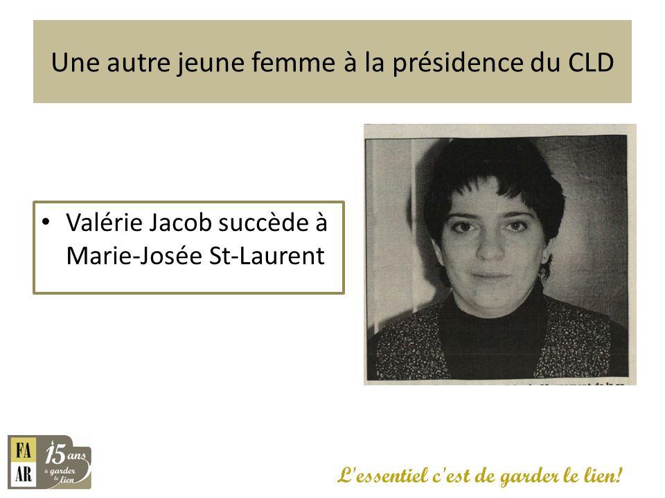 Valérie Jacob succède à Marie-Josée St-Laurent L'essentiel c'est de garder le lien! Une autre jeune femme à la présidence du CLD