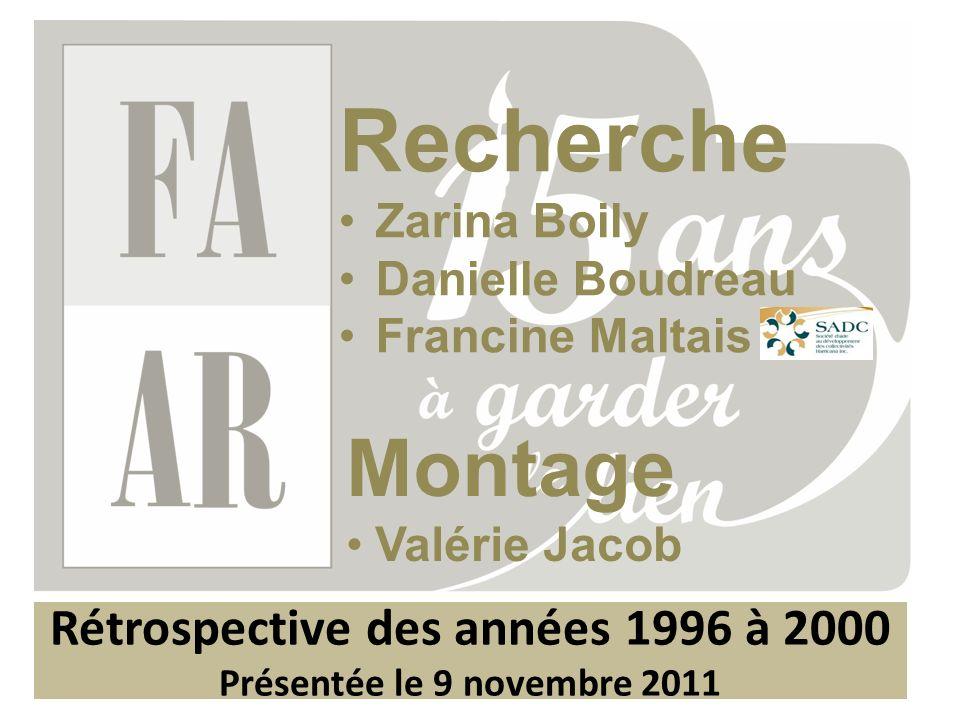 Rétrospective des années 1996 à 2000 Présentée le 9 novembre 2011 Recherche Zarina Boily Danielle Boudreau Francine Maltais Montage Valérie Jacob
