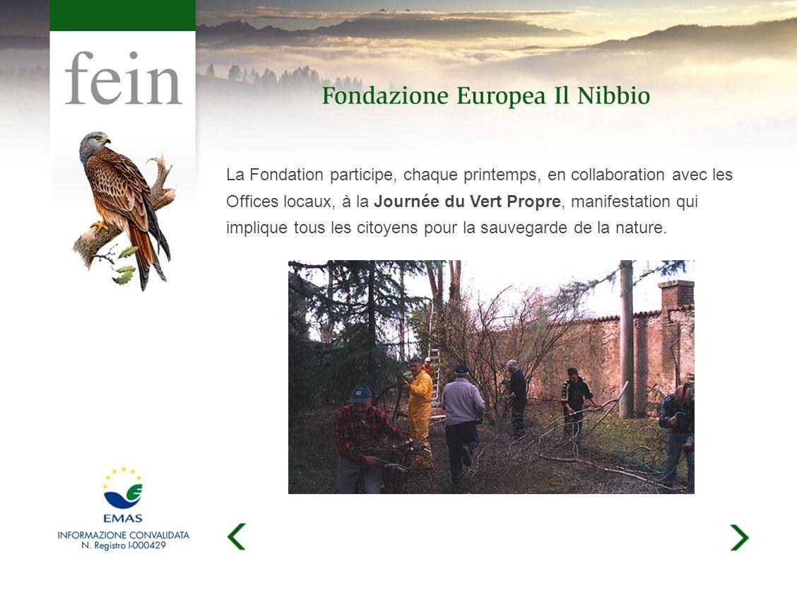 La Fondation participe, chaque printemps, en collaboration avec les Offices locaux, à la Journée du Vert Propre, manifestation qui implique tous les citoyens pour la sauvegarde de la nature.