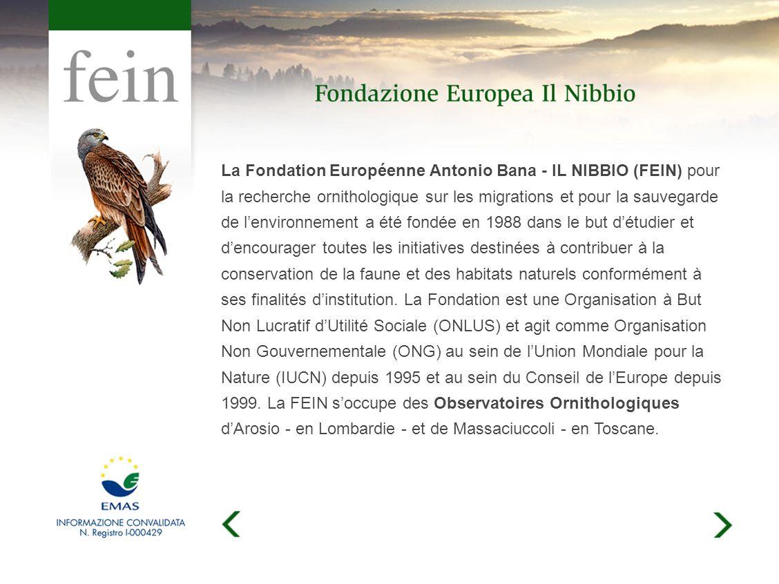 La Fondation Européenne Antonio Bana - IL NIBBIO (FEIN) pour la recherche ornithologique sur les migrations et pour la sauvegarde de lenvironnement a été fondée en 1988 dans le but détudier et dencourager toutes les initiatives destinées à contribuer à la conservation de la faune et des habitats naturels conformément à ses finalités dinstitution.