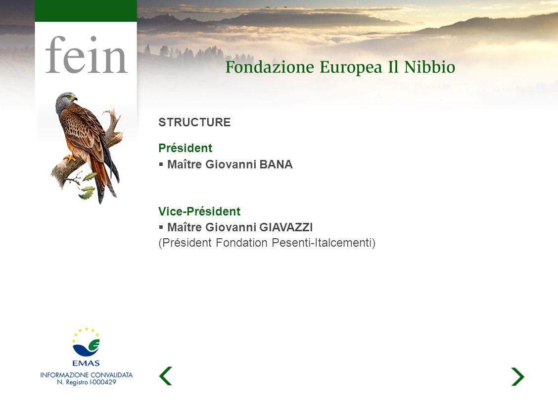 STRUCTURE Président Maître Giovanni BANA Vice-Président Maître Giovanni GIAVAZZI (Président Fondation Pesenti-Italcementi)