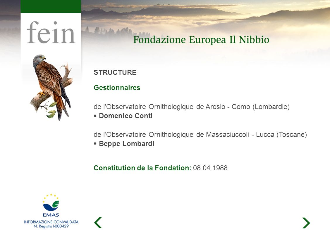 STRUCTURE Gestionnaires de lObservatoire Ornithologique de Arosio - Como (Lombardie) Domenico Conti de lObservatoire Ornithologique de Massaciuccoli - Lucca (Toscane) Beppe Lombardi Constitution de la Fondation: 08.04.1988
