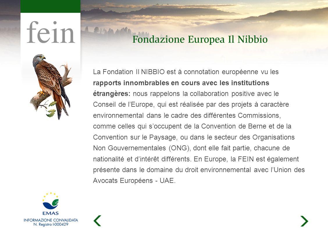 La Fondation Il NIBBIO est à connotation européenne vu les rapports innombrables en cours avec les institutions étrangères: nous rappelons la collaboration positive avec le Conseil de lEurope, qui est réalisée par des projets à caractère environnemental dans le cadre des différentes Commissions, comme celles qui soccupent de la Convention de Berne et de la Convention sur le Paysage, ou dans le secteur des Organisations Non Gouvernementales (ONG), dont elle fait partie, chacune de nationalité et dintérêt différents.