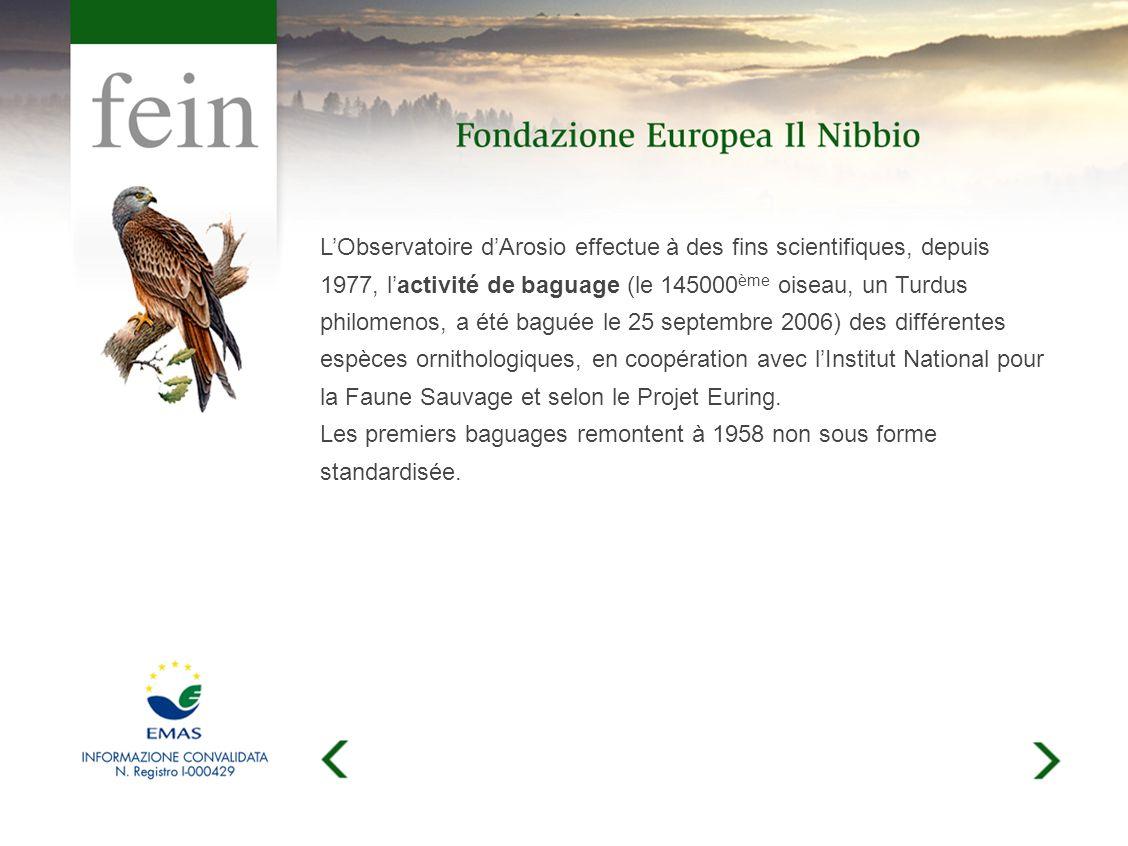 LObservatoire dArosio effectue à des fins scientifiques, depuis 1977, lactivité de baguage (le 145000 ème oiseau, un Turdus philomenos, a été baguée le 25 septembre 2006) des différentes espèces ornithologiques, en coopération avec lInstitut National pour la Faune Sauvage et selon le Projet Euring.