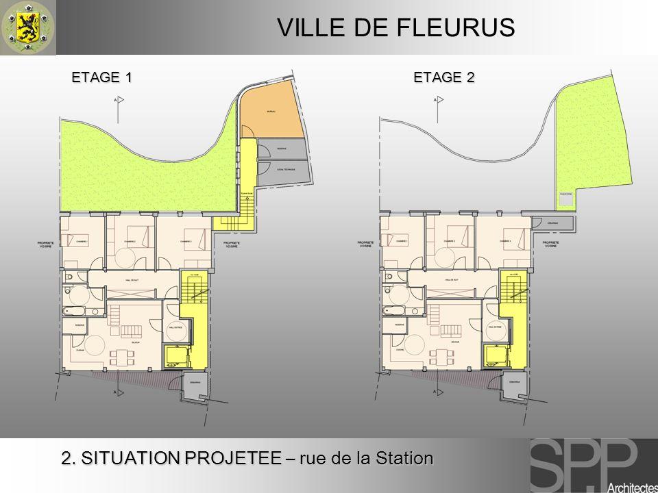 2. SITUATION PROJETEE – rue de la Station VILLE DE FLEURUS ETAGE 2 ETAGE 1