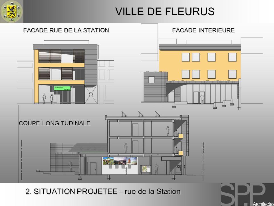 VILLE DE FLEURUS FACADE INTERIEURE FACADE RUE DE LA STATION COUPE LONGITUDINALE 2. SITUATION PROJETEE – rue de la Station