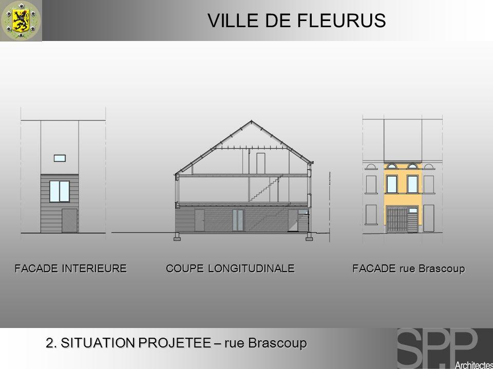 VILLE DE FLEURUS 2. SITUATION PROJETEE – rue Brascoup COUPE LONGITUDINALE FACADE INTERIEURE FACADE rue Brascoup