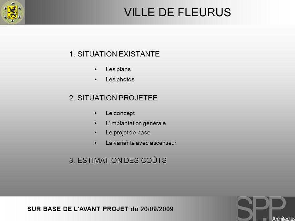1. SITUATION EXISTANTE 2. SITUATION PROJETEE 3. ESTIMATION DES COÛTS VILLE DE FLEURUS SUR BASE DE LAVANT PROJET du 20/09/2009 Les plansLes plans Les p