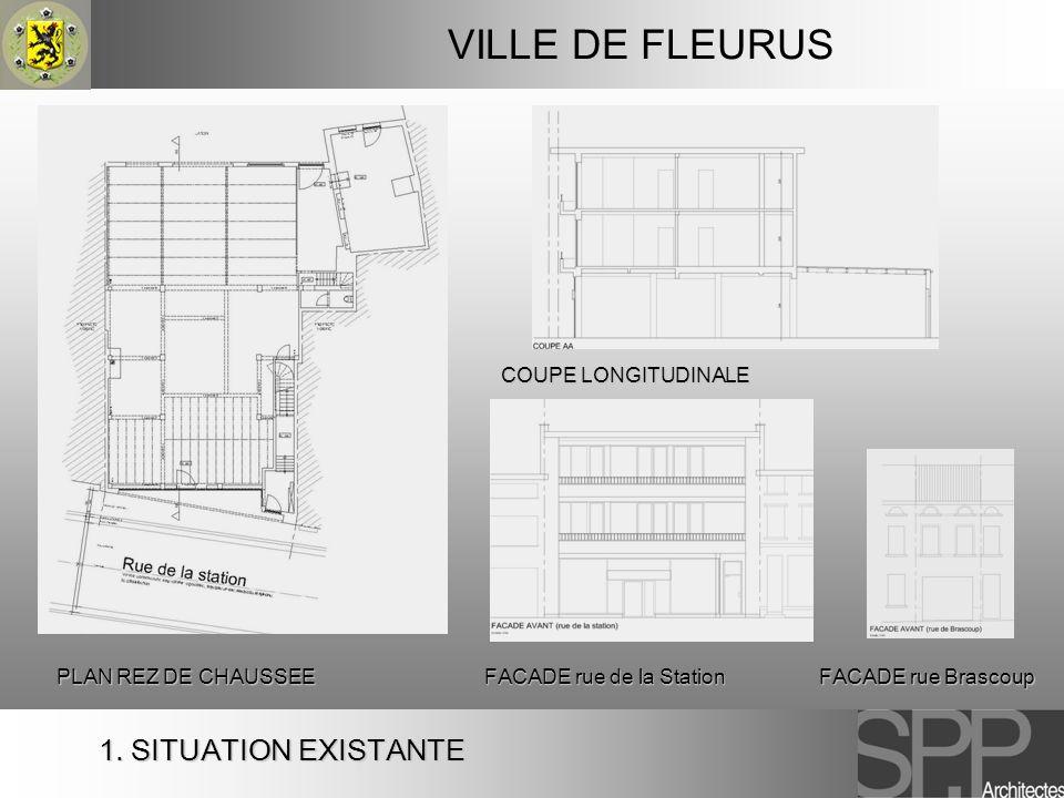 1. SITUATION EXISTANTE VILLE DE FLEURUS PLAN REZ DE CHAUSSEE COUPE LONGITUDINALE FACADE rue de la Station FACADE rue Brascoup