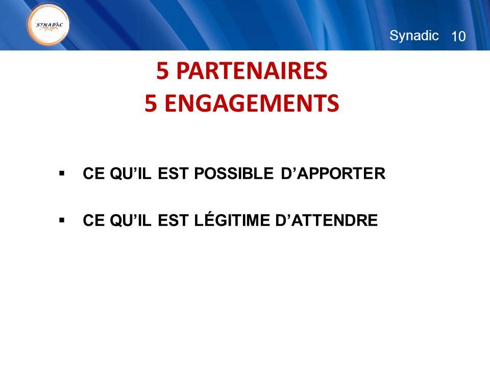 10 Synadic 5 PARTENAIRES 5 ENGAGEMENTS CE QUIL EST POSSIBLE DAPPORTER CE QUIL EST LÉGITIME DATTENDRE