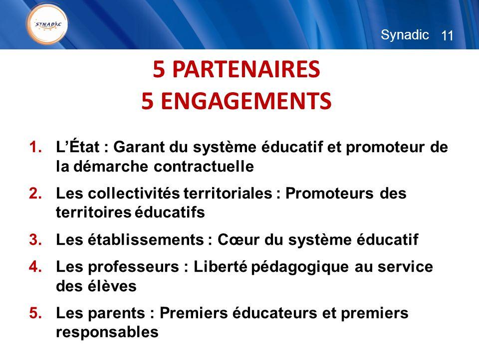 11 Synadic 5 PARTENAIRES 5 ENGAGEMENTS 1.LÉtat : Garant du système éducatif et promoteur de la démarche contractuelle 2.Les collectivités territoriale