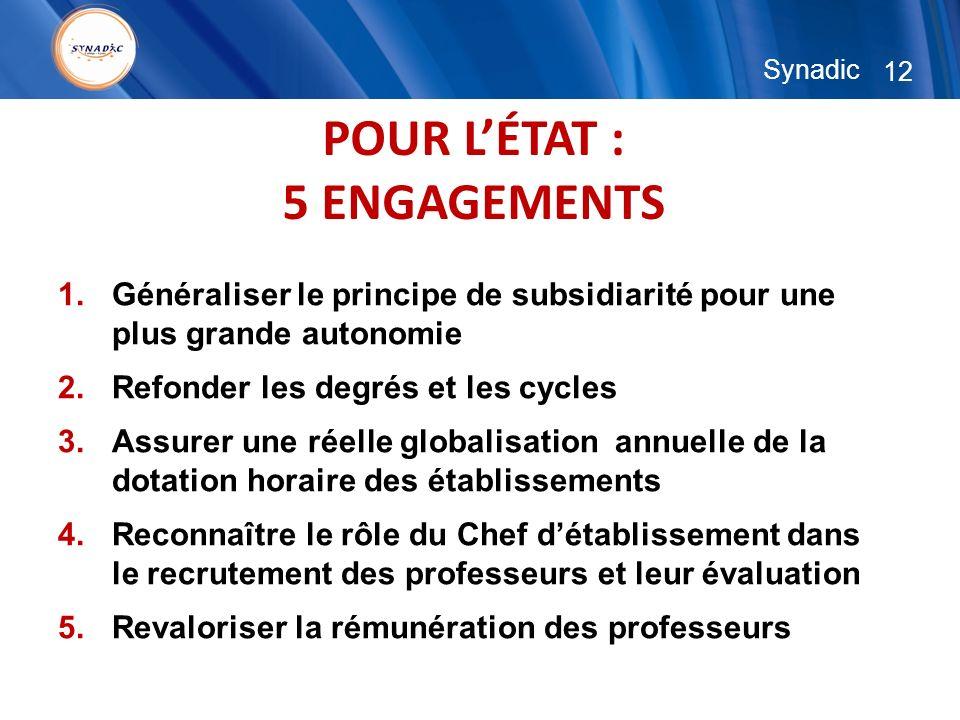 12 Synadic POUR LÉTAT : 5 ENGAGEMENTS 1.Généraliser le principe de subsidiarité pour une plus grande autonomie 2.Refonder les degrés et les cycles 3.A