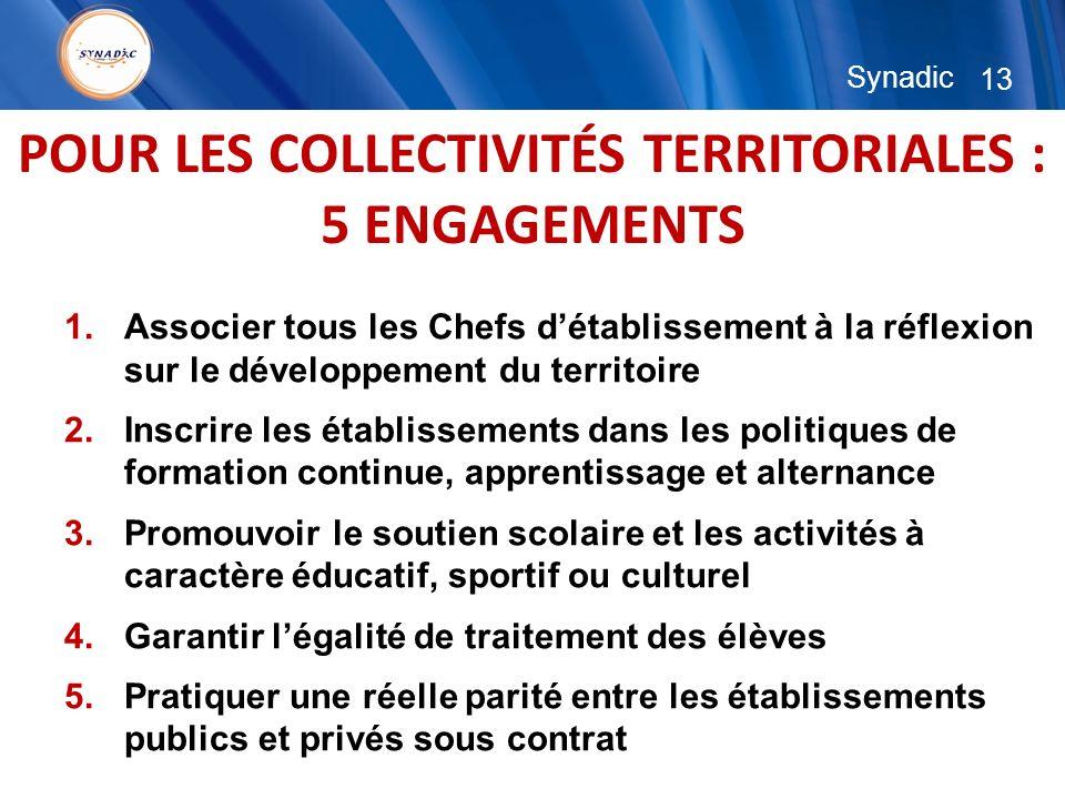 13 Synadic POUR LES COLLECTIVITÉS TERRITORIALES : 5 ENGAGEMENTS 1.Associer tous les Chefs détablissement à la réflexion sur le développement du territ