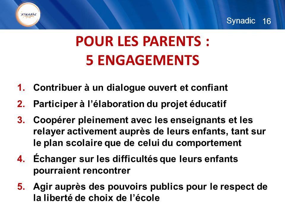 16 Synadic POUR LES PARENTS : 5 ENGAGEMENTS 1.Contribuer à un dialogue ouvert et confiant 2.Participer à lélaboration du projet éducatif 3.Coopérer pleinement avec les enseignants et les relayer activement auprès de leurs enfants, tant sur le plan scolaire que de celui du comportement 4.Échanger sur les difficultés que leurs enfants pourraient rencontrer 5.Agir auprès des pouvoirs publics pour le respect de la liberté de choix de lécole