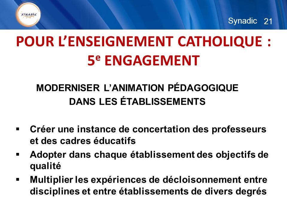 21 Synadic POUR LENSEIGNEMENT CATHOLIQUE : 5 e ENGAGEMENT MODERNISER LANIMATION PÉDAGOGIQUE DANS LES ÉTABLISSEMENTS Créer une instance de concertation