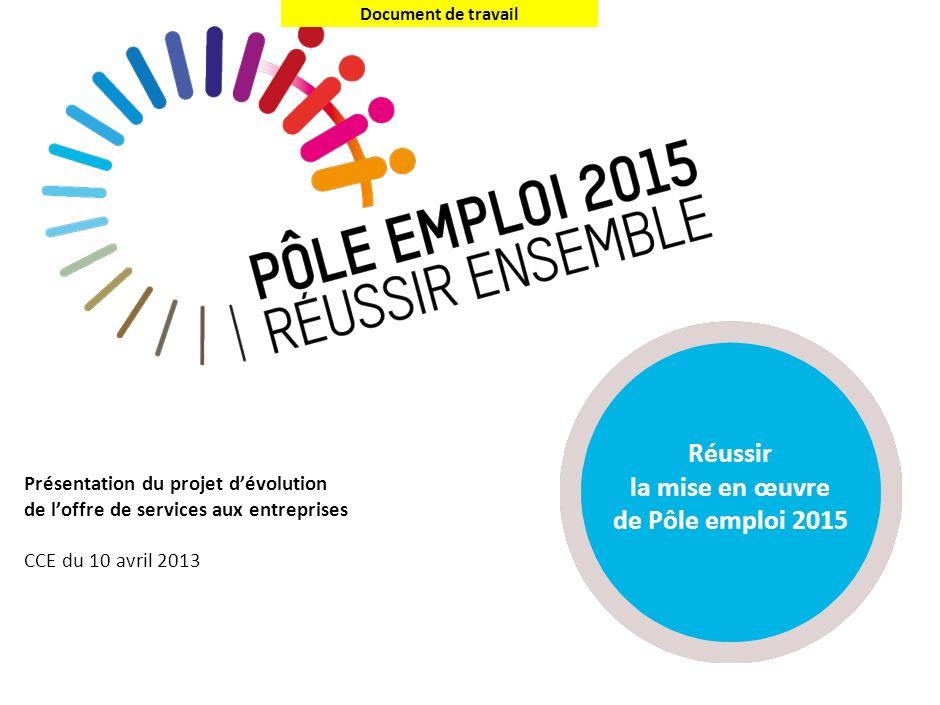 Document de travail Présentation du projet dévolution de loffre de services aux entreprises CCE du 10 avril 2013 Réussir la mise en œuvre de Pôle empl