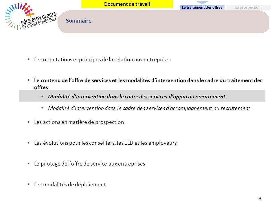 Document de travail Sommaire Les orientations et principes de la relation aux entreprises Le contenu de loffre de services et les modalités dintervent