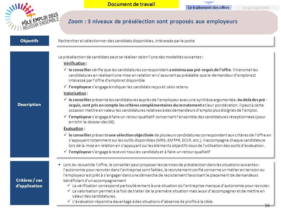 Document de travail Zoom : 3 niveaux de présélection sont proposés aux employeurs La présélection de candidats peut se réaliser selon lune des modalit