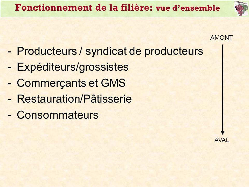 Fonctionnement de la filière: vue densemble -Producteurs / syndicat de producteurs -Expéditeurs/grossistes -Commerçants et GMS -Restauration/Pâtisseri