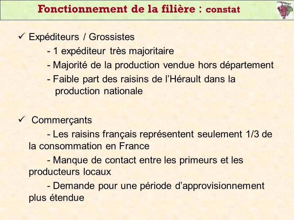 Expéditeurs / Grossistes - 1 expéditeur très majoritaire - Majorité de la production vendue hors département - Faible part des raisins de lHérault dan