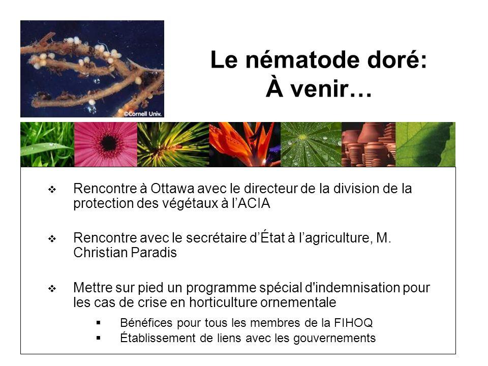 Le nématode doré: À venir… Rencontre à Ottawa avec le directeur de la division de la protection des végétaux à lACIA Rencontre avec le secrétaire dÉtat à lagriculture, M.