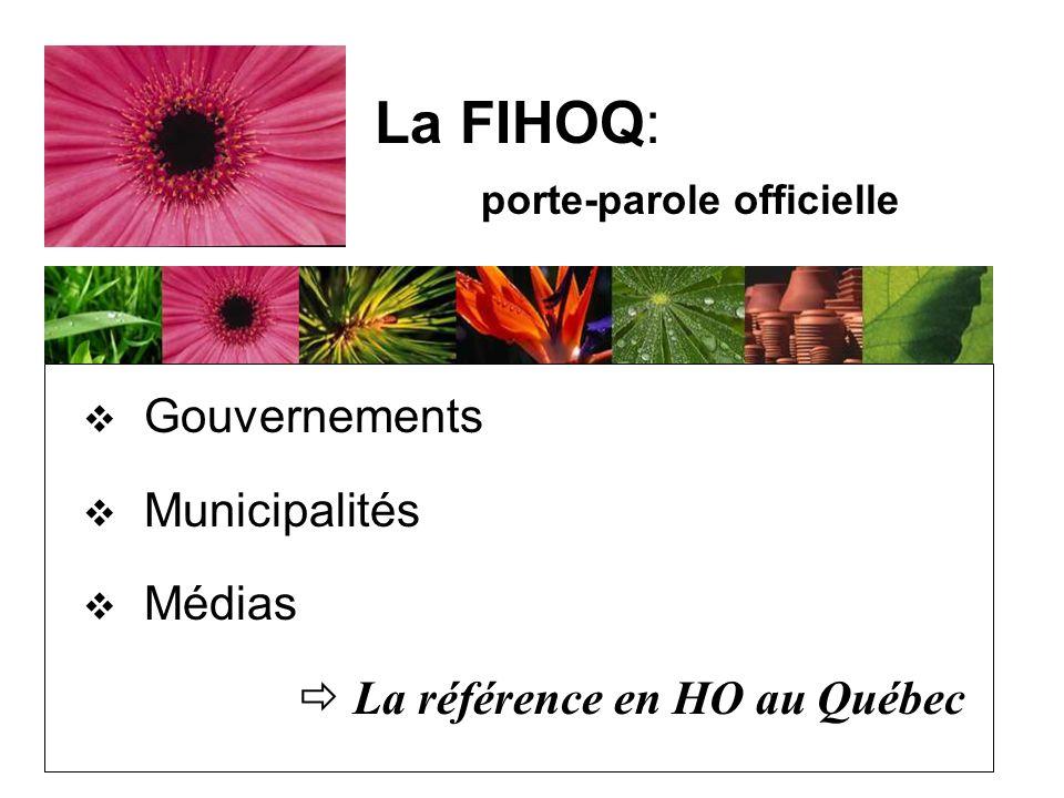 Gouvernements Municipalités Médias La référence en HO au Québec La FIHOQ: porte-parole officielle