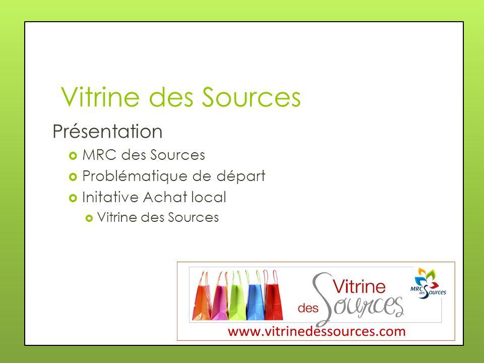 Vitrine des Sources Présentation MRC des Sources Problématique de départ Initative Achat local Vitrine des Sources