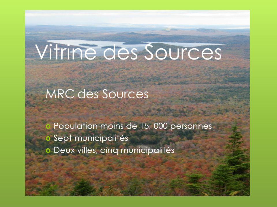 MRC des Sources Population moins de 15, 000 personnes Sept municipalités Deux villes, cinq municipalités
