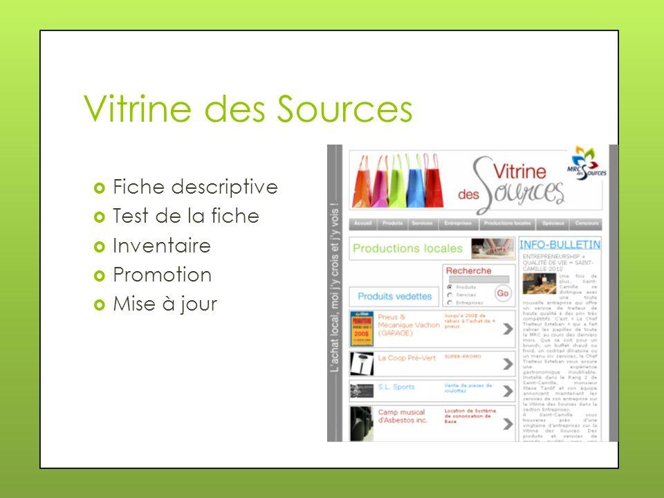 Vitrine des Sources Fiche descriptive Test de la fiche Inventaire Promotion Mise à jour