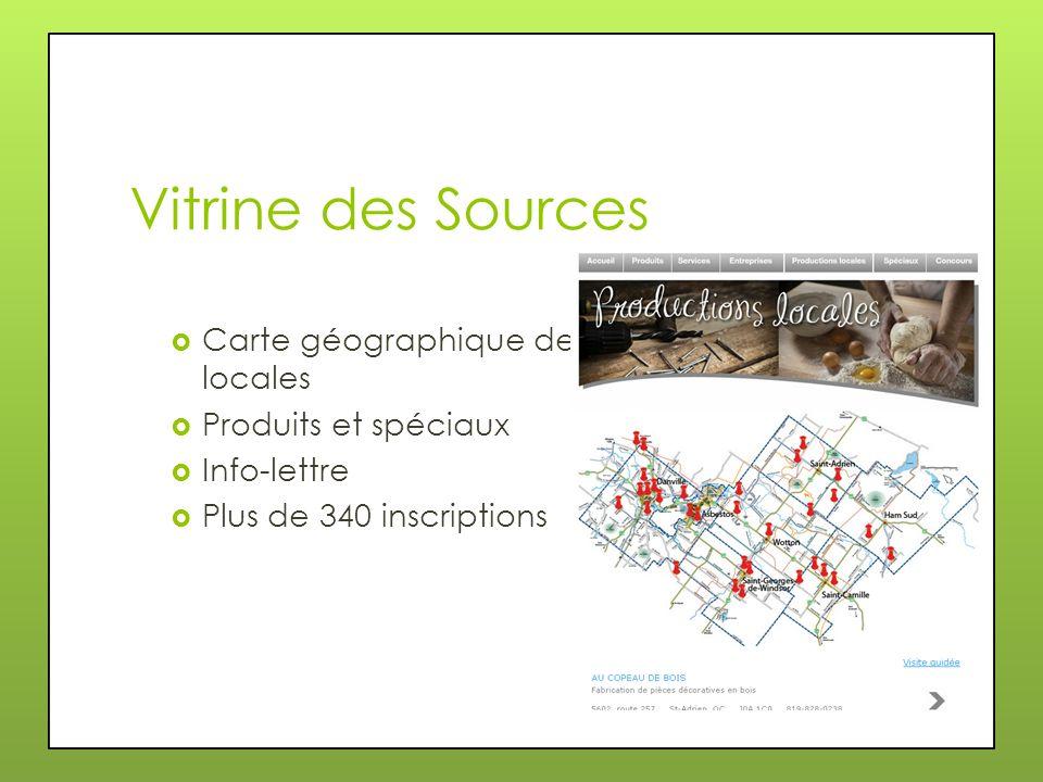 Vitrine des Sources Carte géographique des productions locales Produits et spéciaux Info-lettre Plus de 340 inscriptions